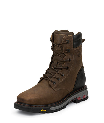 Justin Mens Tobacco Leather Work Boots Steel Toe Lace-Up Commander X5
