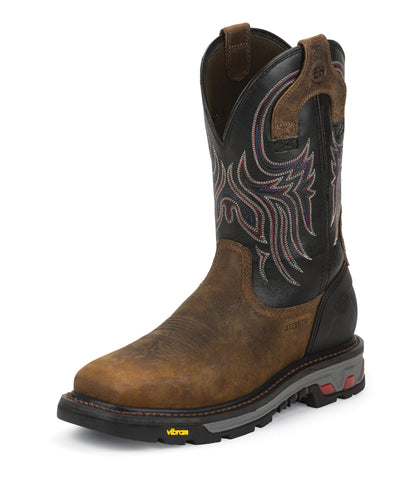 Justin Mens Black Leather Work Boots Commander X5 Steel Toe Waxy