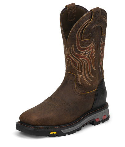 Justin Mens Brown Leather Work Boots Commander X5 Steel Square Toe