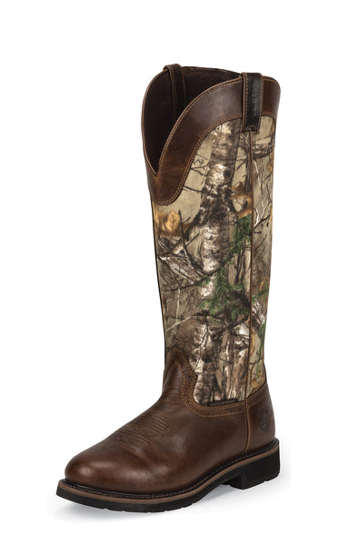 justin mens brown camo leather work boots 17in snake