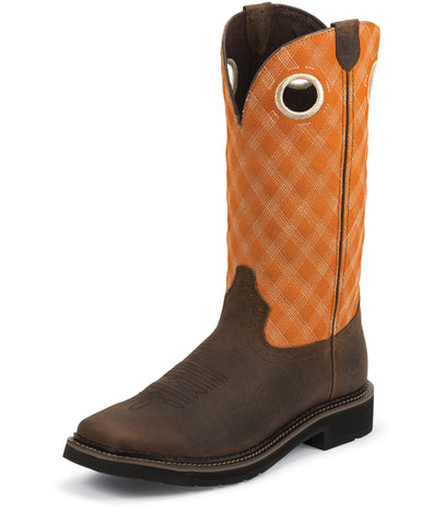 Justin Mens Orange Leather Work Boots Comp Toe Barnwood