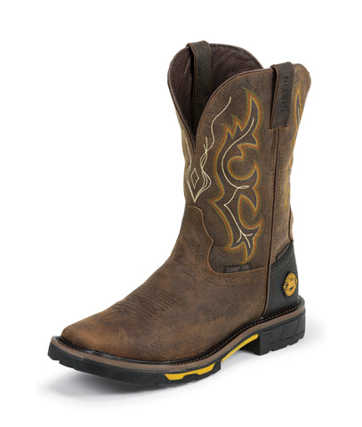 Justin Mens Barnwood Leather Work Boots Hybred Waterproof Comp Toe