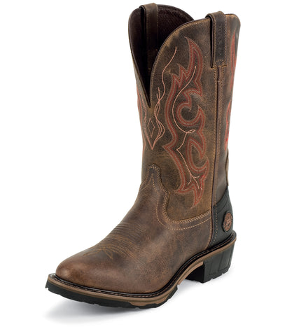 Justin Mens Utah Leather Work Boots Hybred Waterproof 13in