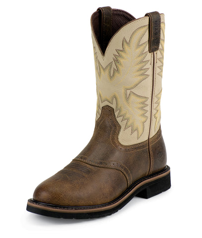 Justin Mens Brown Waxy Leather Work Boots 11in Stampede Pull-On