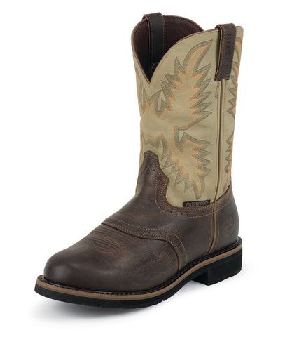 Justin Mens Sawdust Waxy Leather Work Boots 11in Stampede Waterproof