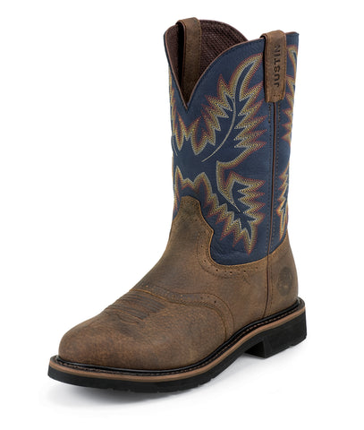 Justin Mens Blue Cowhide Leather Work Boots 11in Stampede Steel Toe