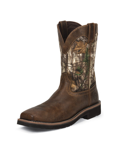 Justin Mens Tan Rugged Leather Work Boots WP Comp Toe Camo Stampede