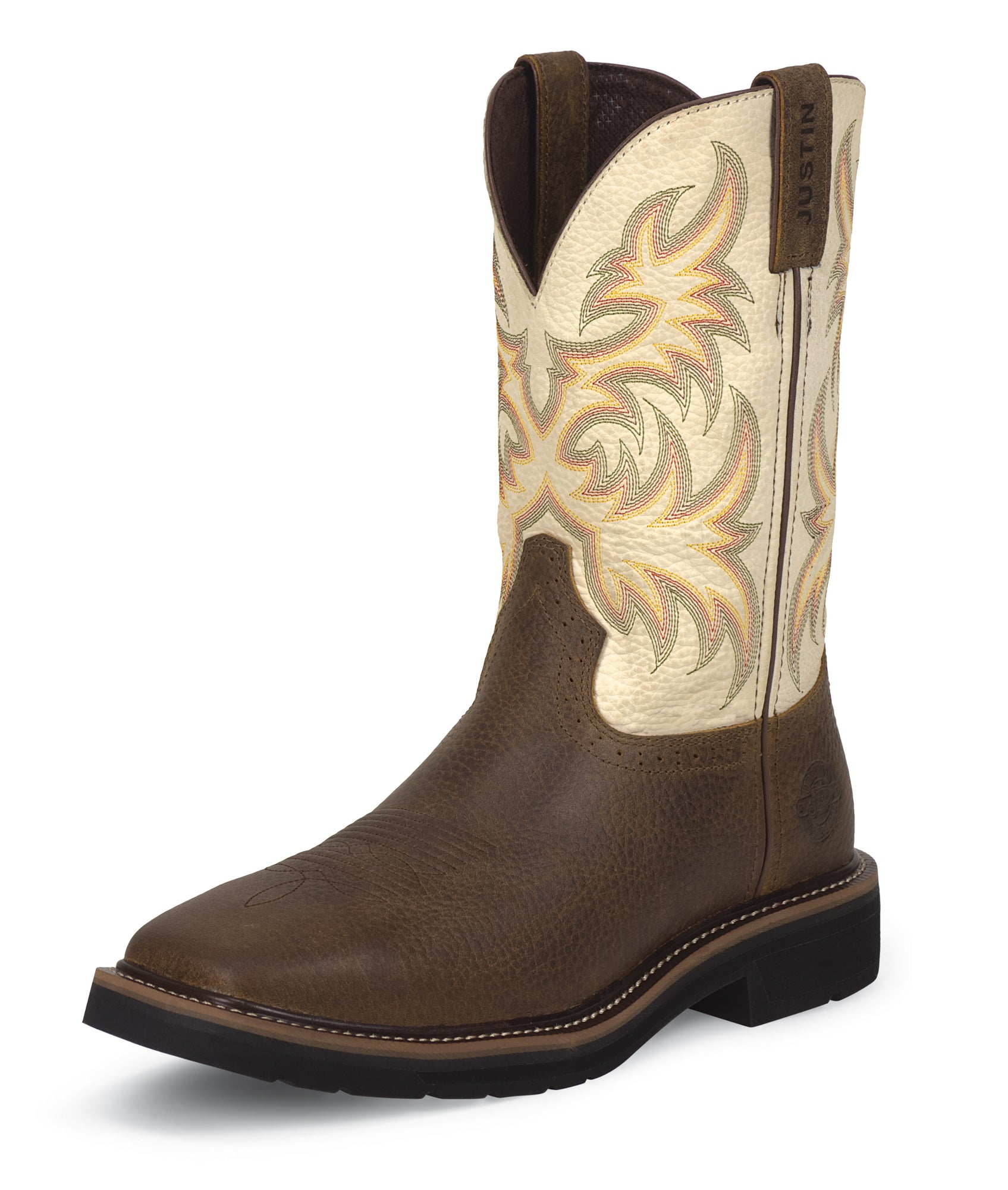 Justin Mens White Cowhide Leather Work