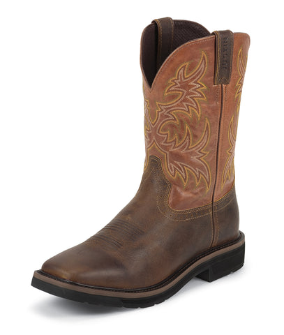 Justin Mens Tan Rugged Leather Work Boots 11in Stampede EH