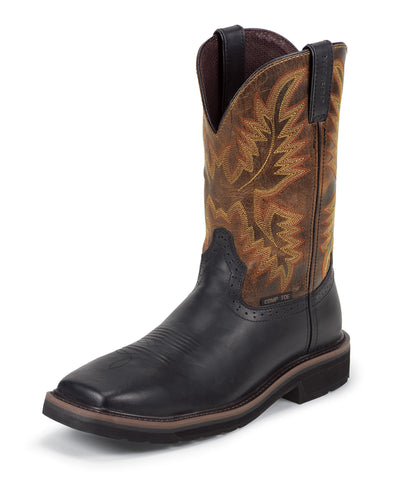 Justin Mens Black Oiled Leather Work Boots 11in Stampede Comp Toe