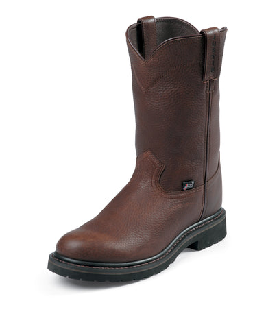 Justin Mens Brown Cowhide Leather Work Boots Trapper Steel Toe