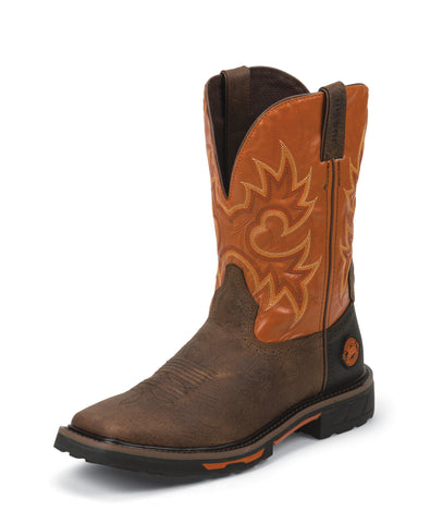 Justin Mens Orange Rustic Leather Work Boots 11in Hybred Pull-On