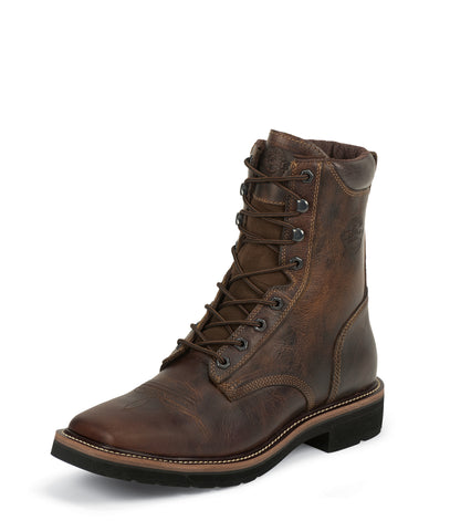 Justin Mens Tan Leather Work Boots Stampede Lace-Up Steel Toe