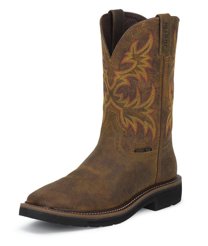 Justin Womens Tan Rugged Leather Work Boots Steel Toe Pull-On Cowhide