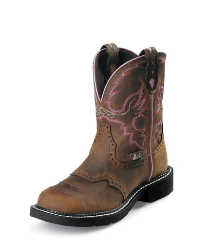 Justin Womens Bark Leather Work Boots Steel Toe Pull-On Gypsy Saddle