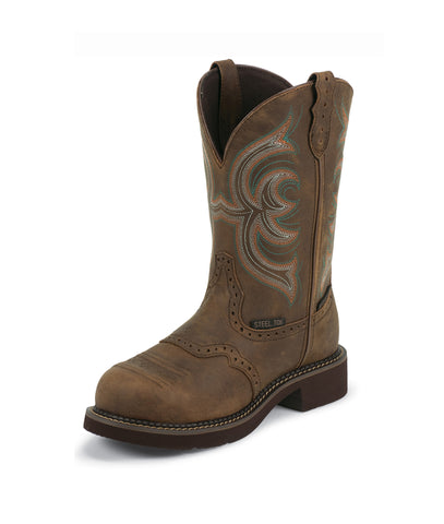 Justin Womens Bark Leather Work Boots WP Steel Toe Pull-On Gypsy