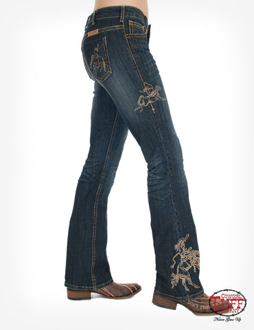 Cowgirl Tuff Womens Dark Wash Cotton Blend Jeans Rodeo Gold