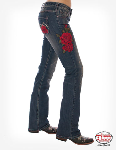Cowgirl Tuff Womens Medium Wash Cotton Blend Jeans Roses are Red