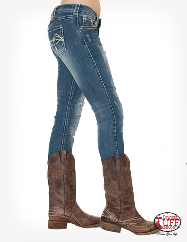 Cowgirl Tuff Womens Medium Wash Cotton Blend Jeans Fearless II