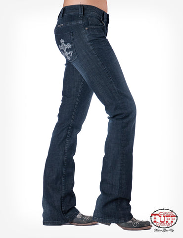 Cowgirl Tuff Womens Black Cotton Blend Jeans Victory Dark