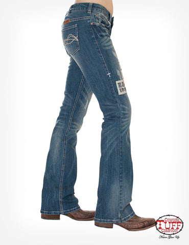 Cowgirl Tuff Womens Medium Wash Cotton Blend Jeans Vintage Rodeo