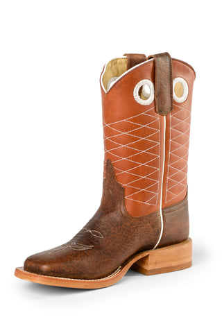 Anderson Bean Kids Copper Bison Leather Cowboy Boots Toast
