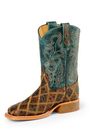 Anderson Bean Kids Boys Brown/Turquoise Leather Angrybird Cowboy Boots