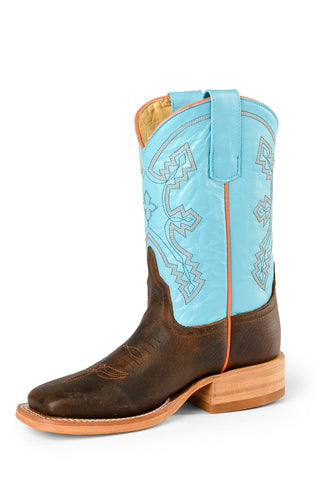 Anderson Bean Kids Boys Blue/Brown Leather Lupine Kidskin Cowboy Boots