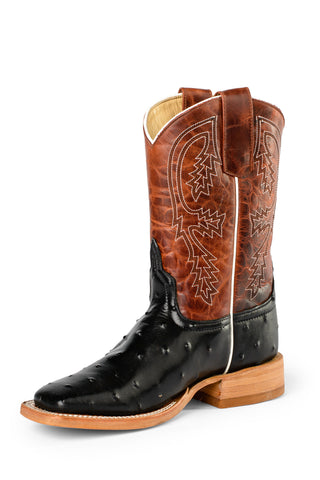 Anderson Bean Boys Rust Lava Leather FQ Ostrich Cowboy Boots