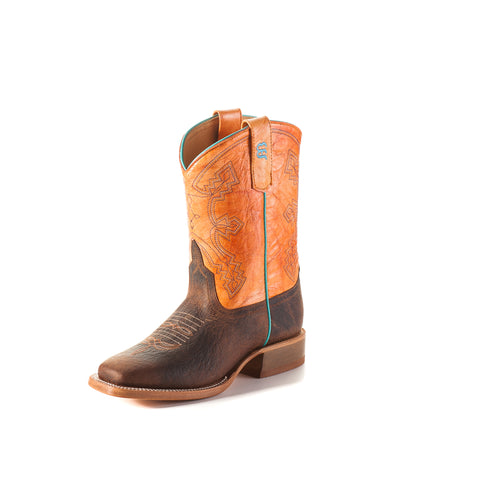 Anderson Bean Kids Boys Brown/Orange Leather Tangerine Cowboy Boots
