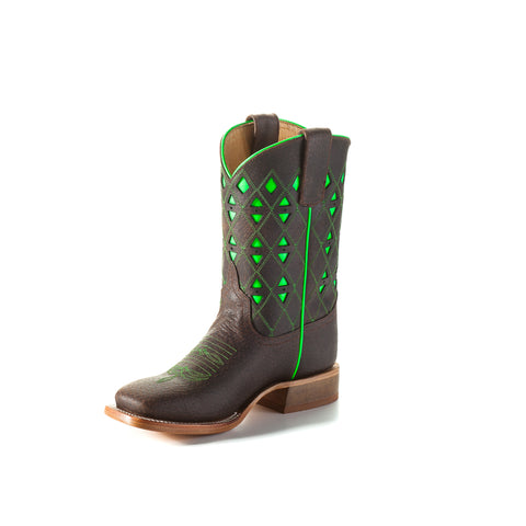 Anderson Bean Kids Toast Bison Leather Cowboy Boots Green Triangle