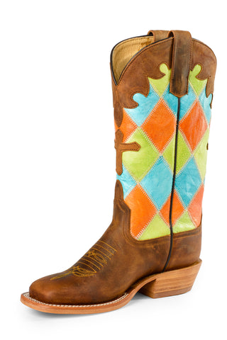 Anderson Bean Kid Boys MultiColor Leather Cross Patchwork Cowboy Boots