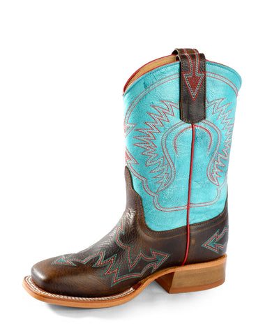 Anderson Bean Girls Choc/Turquoise Leather Crazy Stitch Cowboy Boots