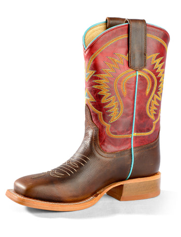 Anderson Bean Kid Boys Chocolate/Red Leather Moka Pitbull Cowboy Boots