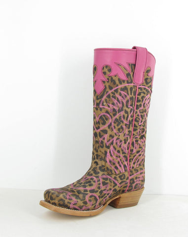 Anderson Bean Kids Girls Pink/Tan Leather Lucky Leopard Cowboy Boots