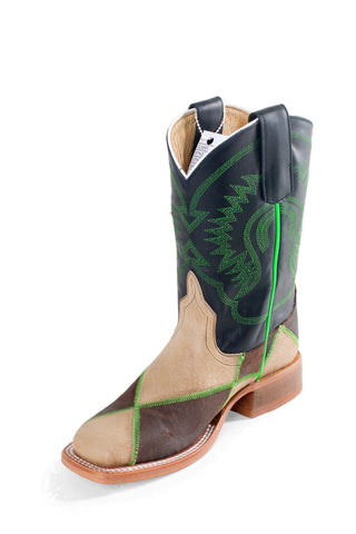 Anderson Bean Boys Tan/Green Leather Patchwork Cowboy Boots