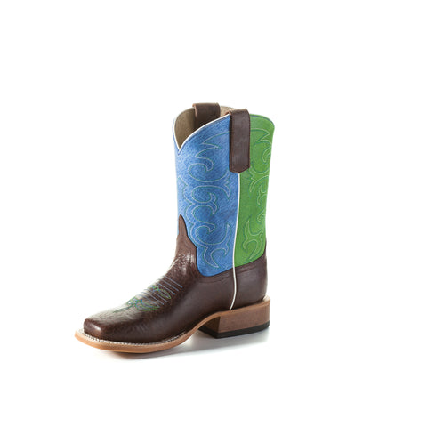 Anderson Bean Kids Boys Blue/Green Leather Sinsation Cowboy Boots