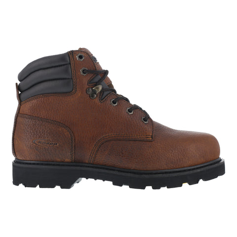 Knapp Mens Brown Leather 6in Work Boots Backhoe Steel Toe