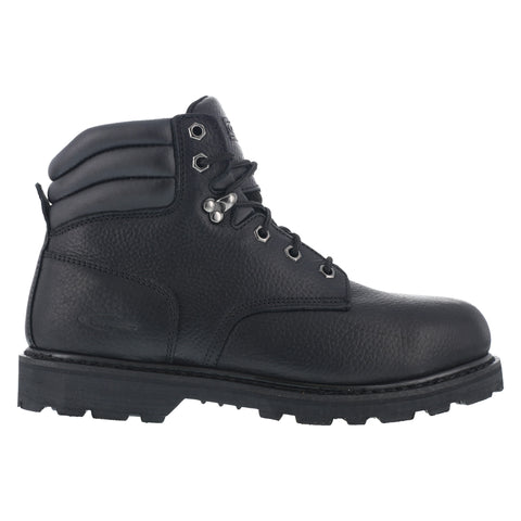 Knapp Mens Black Leather 6in Work Boots Backhoe Steel Toe
