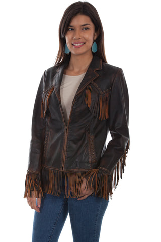 Scully Womens Brown Leather Western Fringe Jacket
