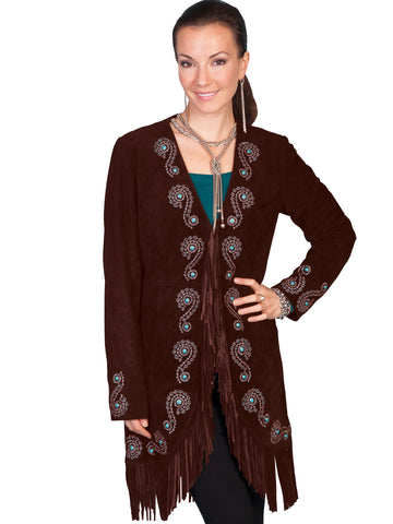 Scully Leather Womens Fringe Silver Embroidered Boar Suede Jacket Expresso