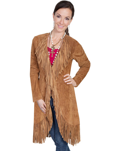 Scully Leatherwear Womens Cinnamon Boar Suede Fringe Maxi Coat
