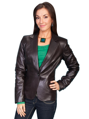 Scully Leather Womens Tailored Soft Lamb One Button Blazer Chocolate