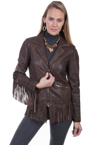 Scully Womens Dark Brown Leather Fringe Zip Jacket