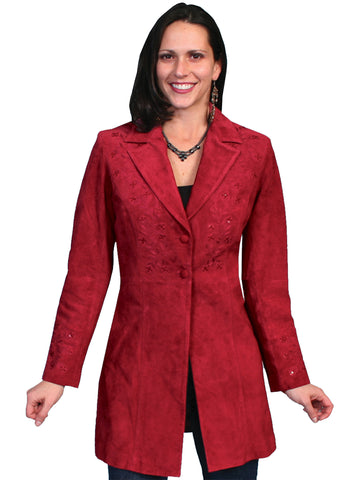 Scully Leather Womens Floral Embroidered Mid Thigh Boar Suede Jacket Red