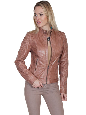 Scully Womens Beige Leather Quilted Racer Jacket