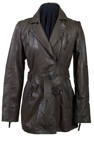 Scully Womens Olive Lambskin Belted Zip Jacket