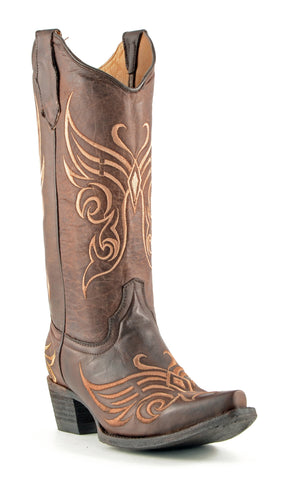 Corral Boots Womens Leather Tobacco Stitch Brown Western Cowgirl