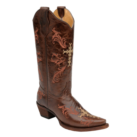 Corral Boots Womens Leather Circle G Cross Chocolate Embroidery Cowgirl