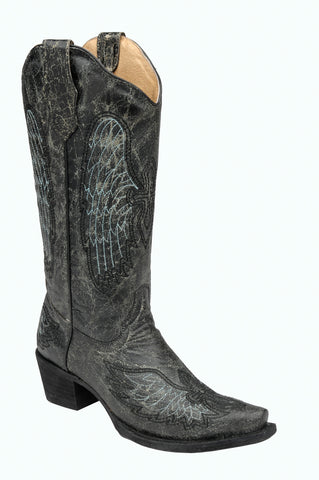 Corral Boots Womens Leather Circle G Wing & Cross Black Snip Cowgirl